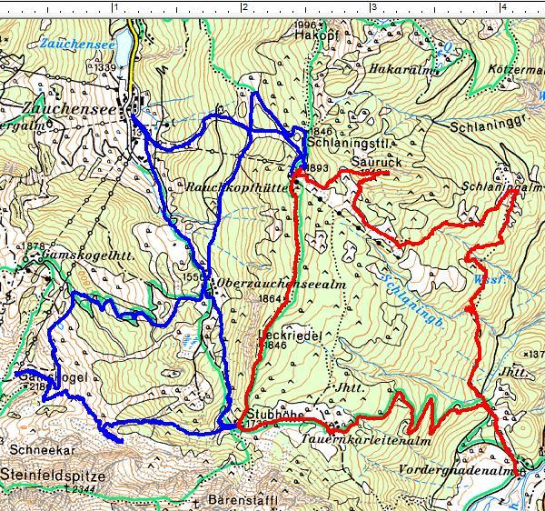 Rot: Die Schneeschuhtour am 01.05.2015 mit Start bei der Vordergnadenalm entgegen dem Uhrzeigersinn - Blau: Schitour eine Woche zuvor ausgehend von Zauchensee