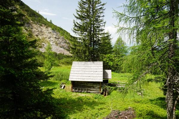 Abstieg vom Steinkarsee über eine Jagdhütte (Tröschmitzhütte) und im steilen Wald bis ...