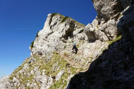 Nach dem steilen Felswandl leitet eine Drahtseilsicherung zu ...