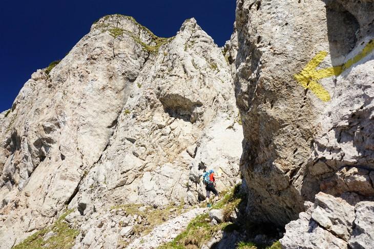 Die Schlüsselstelle der Tour - eine kurze, steile Felspassage - liegt hinter uns