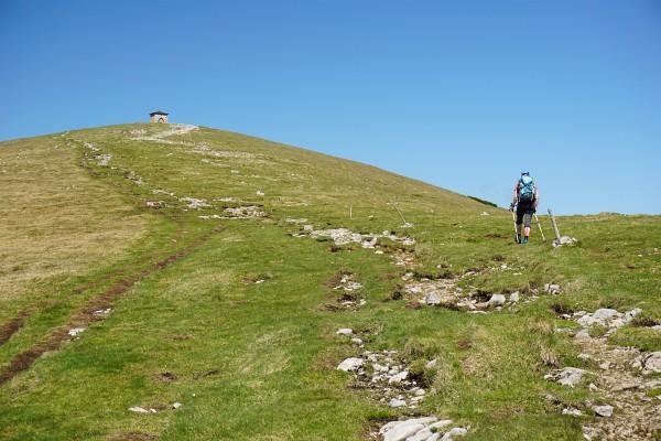 Fast eben geht es am breiten Grasrücken zum schon von Weitem sichtbaren Gipfel-Bauwerk ...