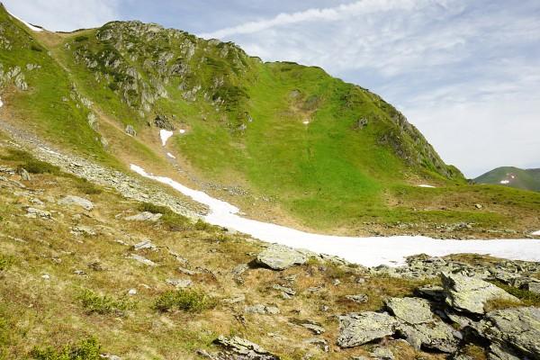 Blick auf grüne Steilhänge beim Aufstieg auf die Seekoppe