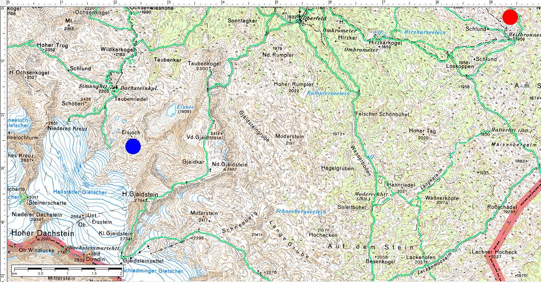 Die ungefähre Lage der beiden Erzählungen von Peter Gruber (links-blau: Das Tagebuch des Kenneth Thomas Cichowicz - rechts-rot: Tod am Stein) (Klick zur Vergrößerung)