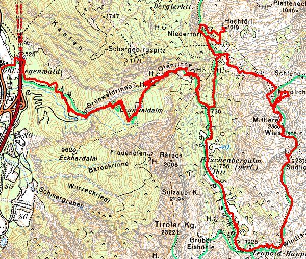 Der Routenverlauf von Stegenwald (links) über das Leopold-Happisch-Haus auf Wieselsteine und Hochtörl