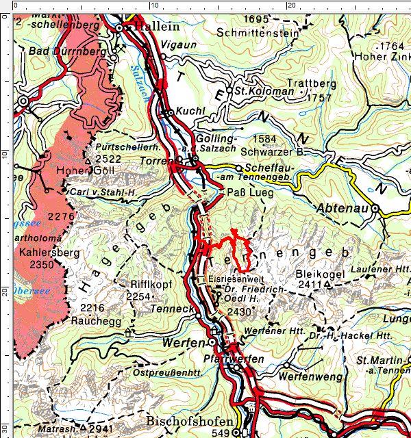 Das Tourengebiet auf des Westseite des Tennengebirges