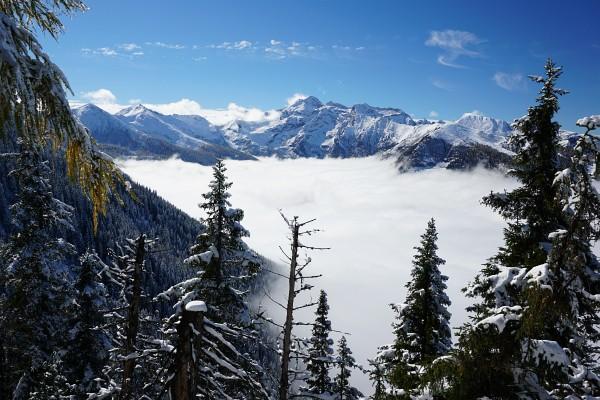 Blick zur Hochwildstelle - das Sattental liegt unter dem Nebel