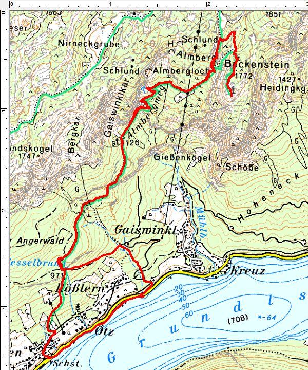 Routenverlauf vom Grundlsee auf den Backenstein