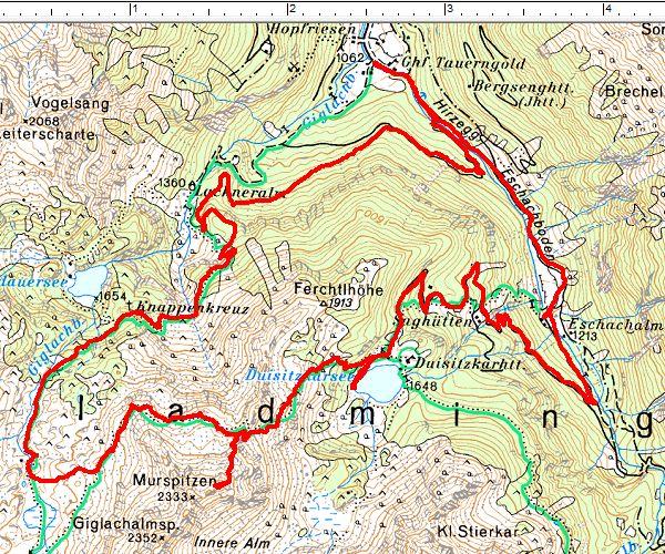 Routenverlauf im Uhrzeugersinn: Duisitzkarsee - Murspitzen - Giglach