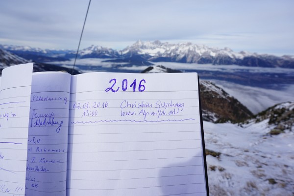 1. Gipfelbuch-Eintrag im Jahr 2016