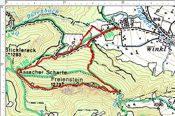 Routenverlauf im Uhrzeigersinn über den Freienstein