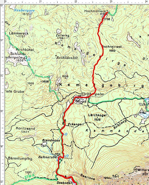 Der Routenverlauf von der Rahnstube auf das Hochmühleck