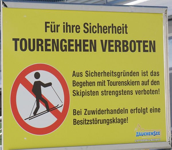 Skitourenverbot in Zauchensee