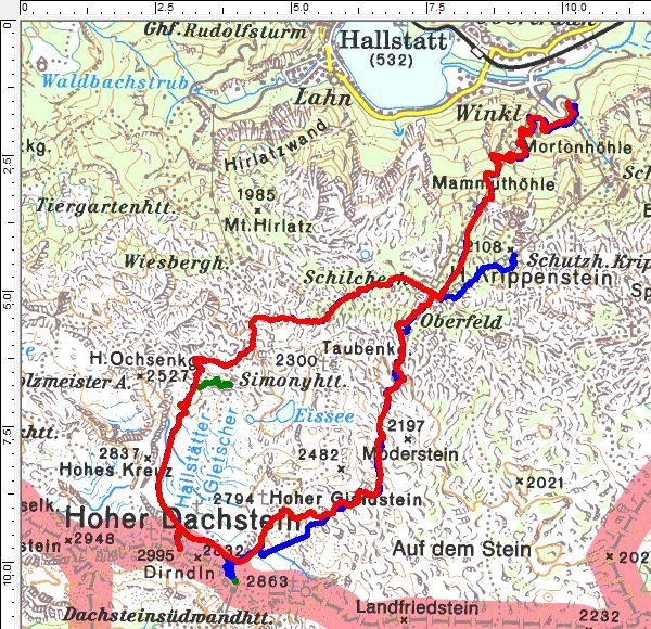 Unsere heurigen Skitouren am Dachsteingletscher (rot=17.03., blau=27.02., grün=06.02.)