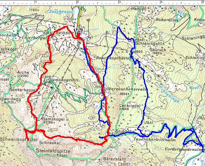 Rot=Route am 20.03.2016. Blau=Skitour am 22.01.2016.