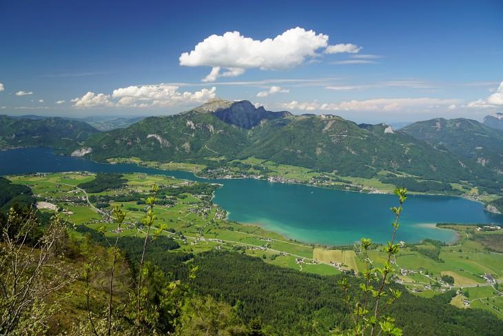 Blick von der Bleckwand über den Wolfgangsee zum Schafberg