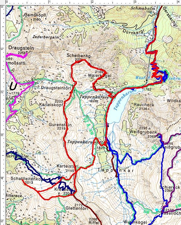 Unsere Wanderroute (rot) - nördlich vom Tappenkarsee ist der neue Wegverlauf erkennbar