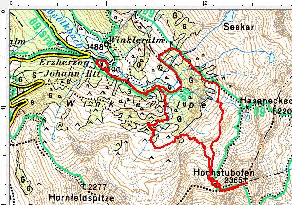 Die Wanderroute entgegen dem Uhrzeigersinn von der Erzherzog-Johann-Hütte auf den Hochstubofen