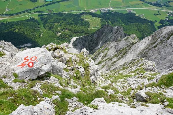 Der obere Ausstieg aus dem Südostgrat knapp vor dem Gipfelkreuz am Grimming