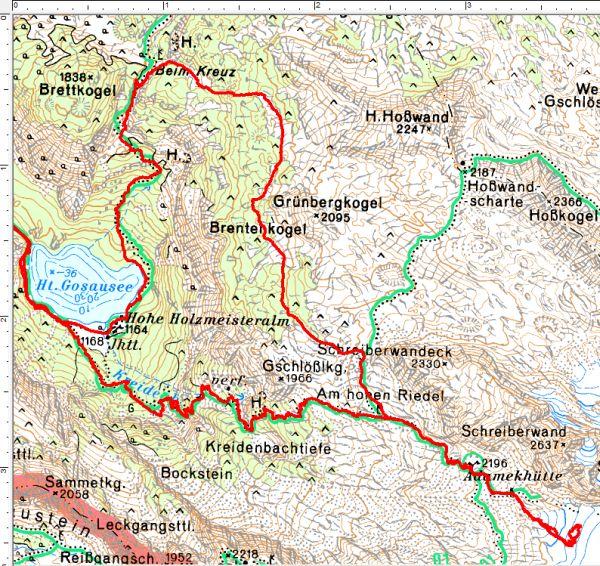 Der Routenverlauf ab dem Hinteren Gosausee