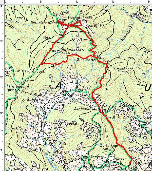 Unser Routenverlauf vom Öbristweg auf das Hochgründeck mit der Gipfel-Runde entgegen dem Uhrzeigersinn.