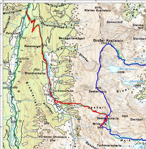 Rot der Routenverlauf vom 14.08.2016 aus der Kleinsölk über die Tuchmoaralm. Blau meine Route vom Oktober 2007 mit Ausgangspunkt bei St. Nikoklai im Großsölktal