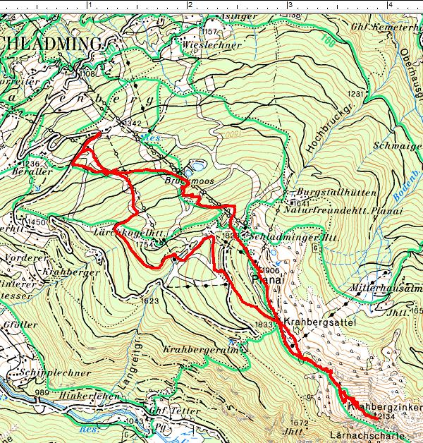 Routenverlauf Planai - Krahbergzinken