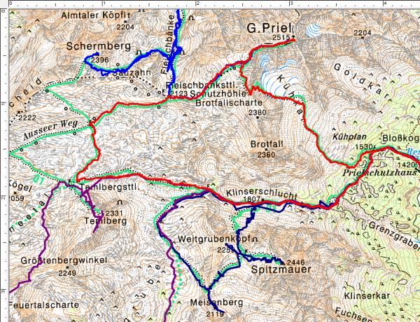 Bisherige Wanderungen im Umfeld des Großen Priel (Rot=aktuelle Tour)