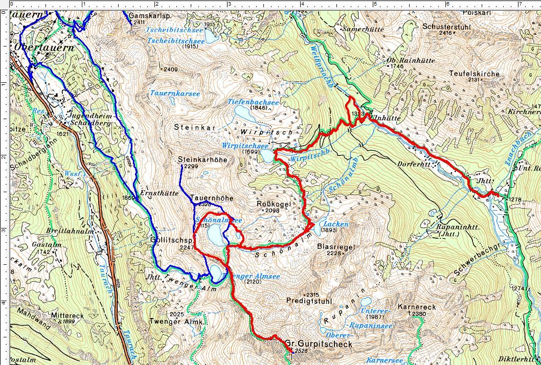 Wanderrouten auf das Große Gurpitscheck. Rot=aktuelle Wanderung, blau=1. Besuch von Obertauern aus (Klick zur Vergrößerung)
