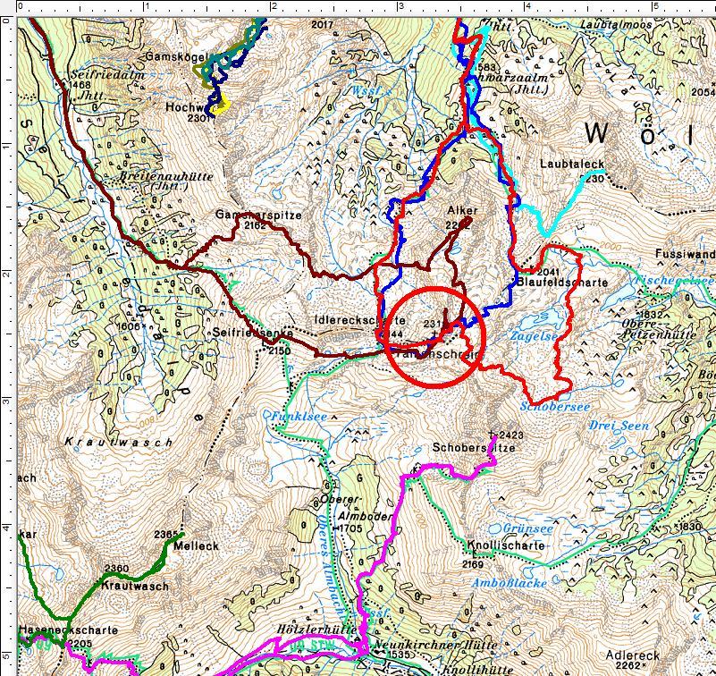 Wandertouren im Umfeld des Talkenschrein (rot = aktuelle Tour) (Klick zur Vergrößerung)