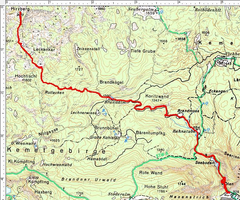Der Routenverlauf auf den Hirzberg (Klick zur Vergrößerung)