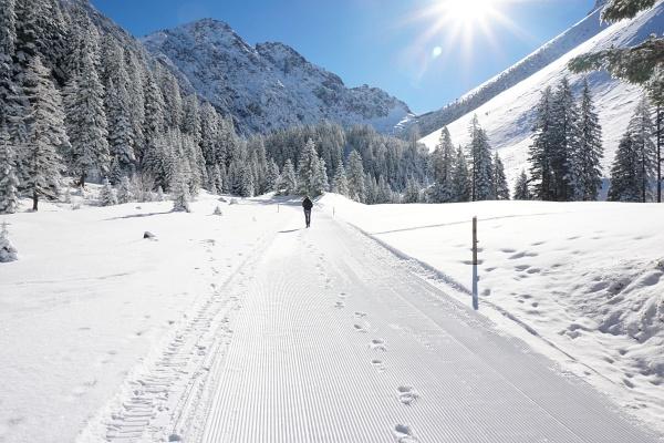 Wir durften als erste unsere Spuren in den frisch präparierten Winterwanderweg / Rodelbahn legen.