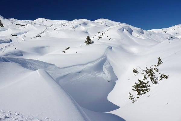 Winterlandschaft im Umfeld der Gjaidalm