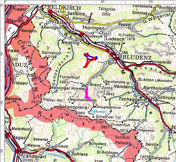 Unsere Wandertouren im Brandnertal: ROT=Hundeschlittenfahrt - BLAU=Schneeschuhwanderung - PINK=Winterwanderung