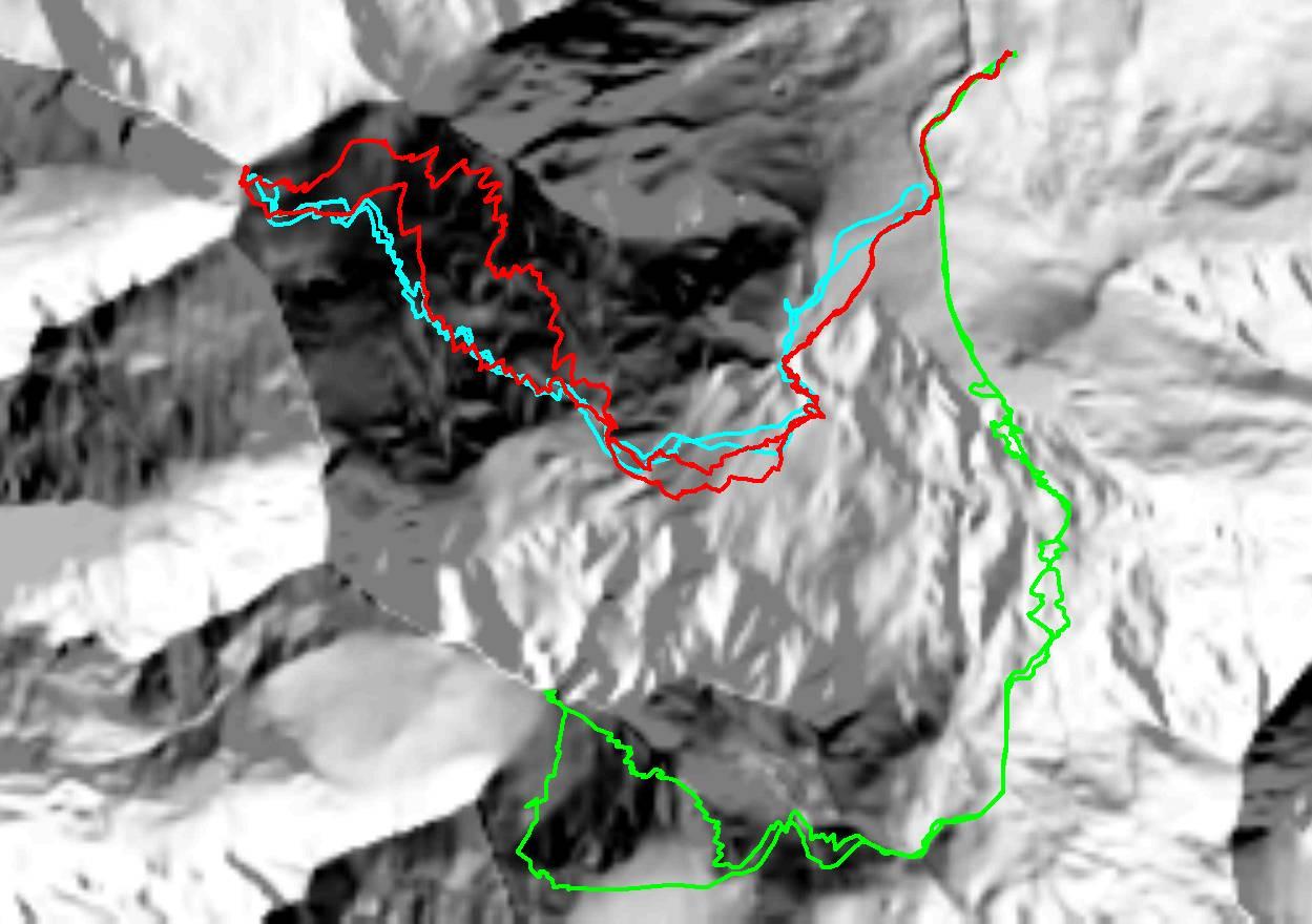 Hocharn-Routen: Rot-2017 und hellblau 2008. Grün die Skitour auf den Hohen Sonnblick 2006. (Klick zur Vergrößerung)