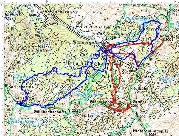 Schirouten im Plannerkessel: Blau=Skitour am 02.04.2017 - Rot=Skitour am 22.04.2017