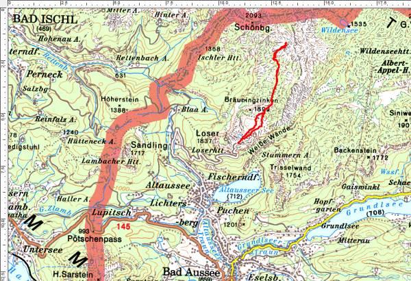 Das Tourengebiet im Toten Gebirge nördlich der Loseralm