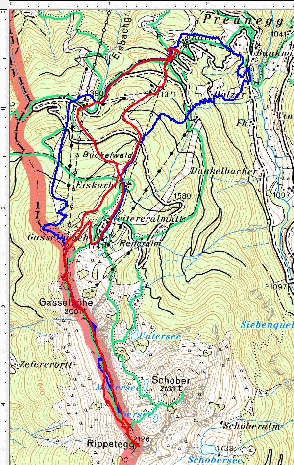 Meine Schitouren-Routen Ende April / Anfang Mai über die gut präparierten Reiteralm-Pisten zur Gasselhöhe und auf das Rippetegg (Rippeteck). Blau=30.04.2017, Rot=01.05.2017