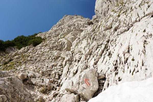 Der untere Felseinstieg bei 1.865 Meter Höhe