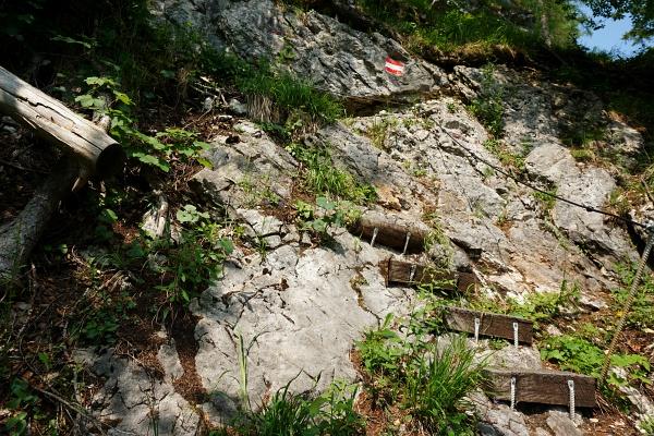 Rutschige Steilpasagen im Bereich der Hahnler Stiege