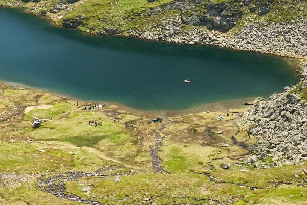 Taucher und Hubschrauber am Ahornsee