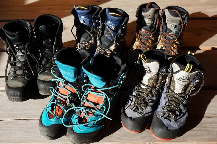 Meine aktuelle Bergschuh-Sammlung - 3 Paar im Dauergebrauch und 2 Auslaufmodelle