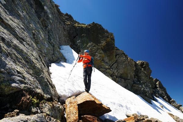 Bei 2.424 Meter Höhe - mit hochgestrecktem Arm - ist vorerst Schluß