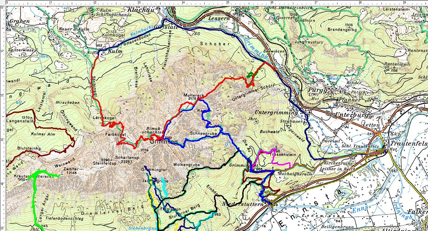 Einige meiner bisherigen Wanderungen im Umfeld des Grimming. Rot = meine heutige Tour mit Lärchkogelaufstieg und Kulm-Abstieg. Blau = meine Tour vom Vorjahr über den Südostgrat mit Abstieg über das Multereck. (Klick zur Vergrößerung)