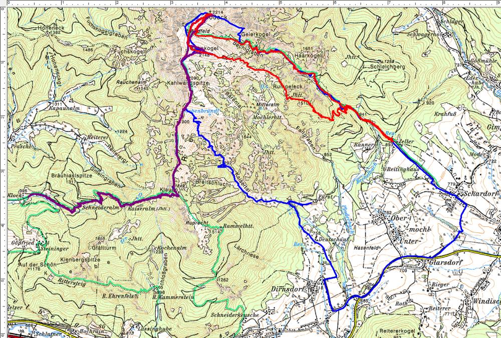 Bisherige Wanderrouten auf das Gößeck - rot ist die aktuelle vom 18.05.2017 (Klick zur Vergrößerung)