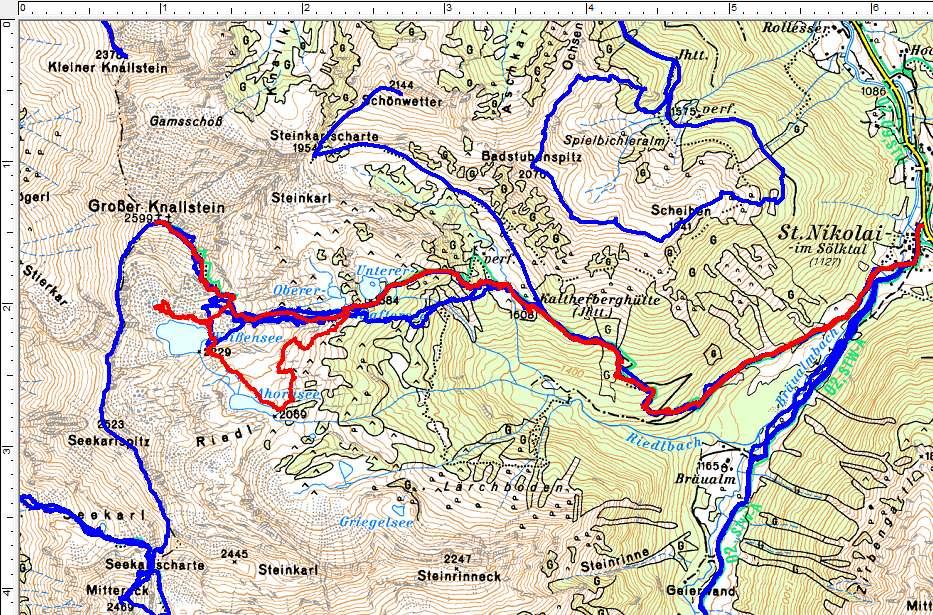Unsere Wanderroute (rot) auf den Großen Knallstein