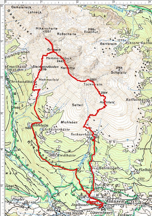 Wanderroute entgegen dem Uhrzeigersinn von Klausen über die Tocknerhütte und Tockneralm zum Hemmferfeldeck