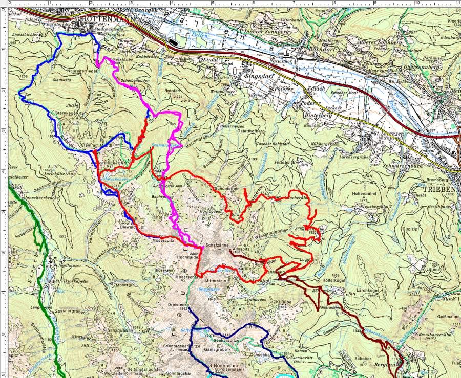 Bisherige Wanderungen im Gebiet zwischen Stein am Mandl, Hochhaide, Dreistecken und Bösenstein