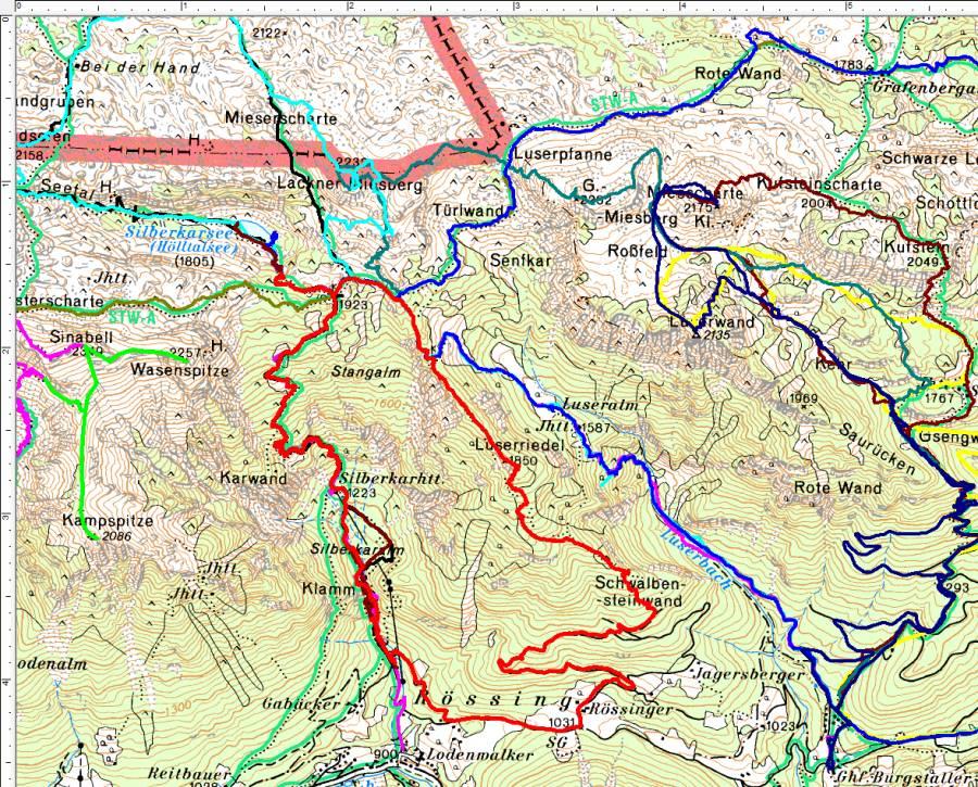Ganz unbekannt war mir das Wandergebiet zwischen Guttenberghaus und Luserwand ja nicht mehr - den Luserriedel (rote Route) haben wir aber erstmals besucht.