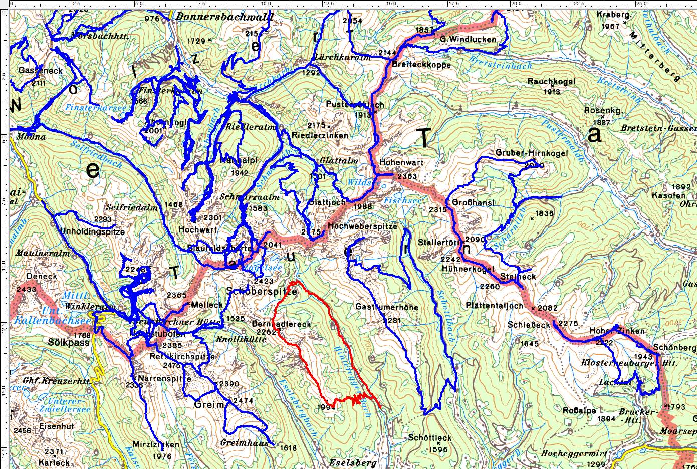 Unser letzter noch offene Gebirgszug in den südlichen Wölzer Tauern (Rote Route) (Klick zur Vergrößerung)
