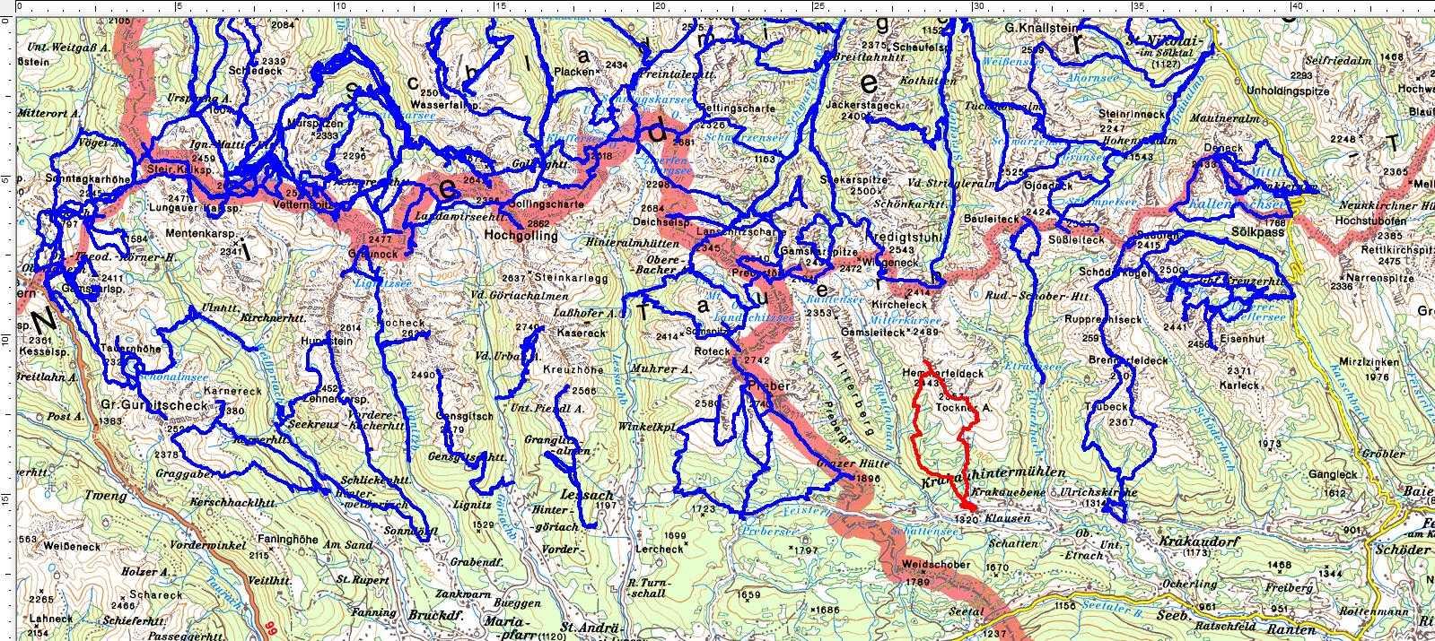 Ein weißer Fleck in den südlichen Schladminger Tauern ist nun geschlossen (rote Route)